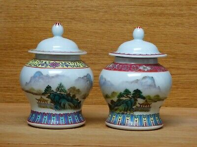 Pair Of Attractive Chinese Porcelain Ginger Jars With Lids • 14.99£