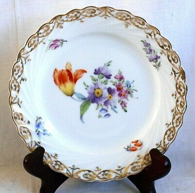 Nymphenburg Hand Painted Dessert Plate Decorated With Flowers And Spiral Flutes • 10£