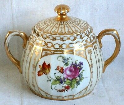 Dresden Style Hand Painted Sucrier Decorated With Flowers, Gilding And Flutes • 10£