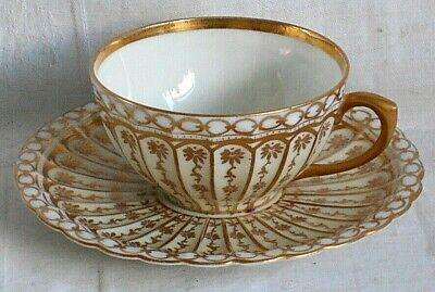 Dresden Style Hand Painted Cup Saucer Decorated With Flowers, Gilding And Flutes • 5£