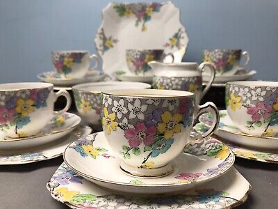 Vintage Tuscan Floral Pink Blue Hand Painted Bone China 21 Piece Tea Set • 39.99£