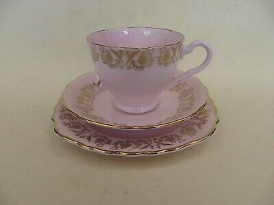 Vintage Colclough China, Bone China Pink & Gold Cup, Saucer, Plate Trio. • 12.99£