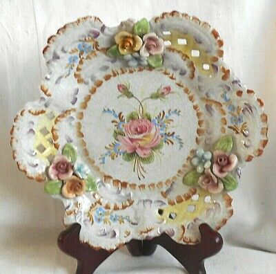 Continental Hand Painted Reticulated Dish With Flowers And Applied Flowers • 10£
