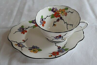 Art Deco Foley China Cup & Saucer/plate Pattern 593 • 24.99£