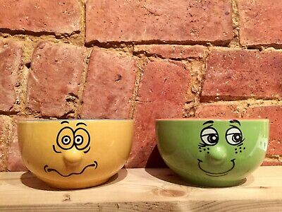 2 X Funny Face Trade Winds Cereal Ceramic Bowls  • 12£
