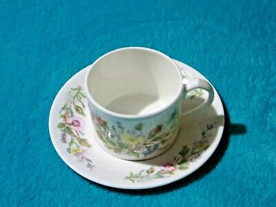 Aynsley Wild Tudor Coffee Cup Espresso Can And Saucer Free UK P&P • 7.99£