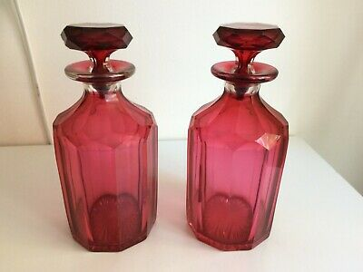 Pair Of Antique Victorian Cranberry Glass Decanters. • 90£