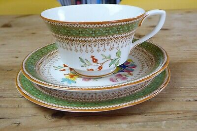 1931 Royal Worcester China Green Chinoiserie Trio, Cup, Saucer And Plate • 6£