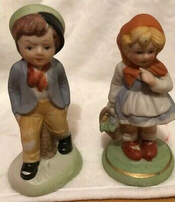 Two Little Rayware Style Figures Of Boy And Girl • 4£