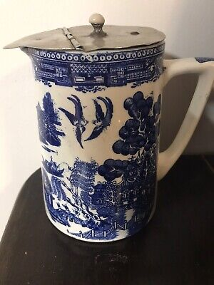 Vintage Willow Blue White Bristol Pountney And Co Water Milk Jug  • 12.99£