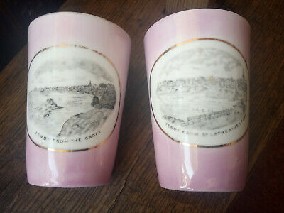 2 PIECES ANTIQUE CRESTED WARE VASE- TENBY Wales 4 Inch, Croft, Fort Pink Lustre • 10£