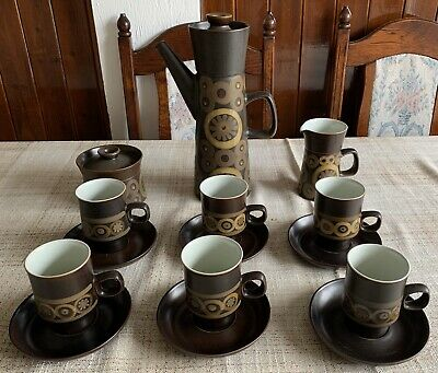 Vintage Denby Langley Samarkand Coffee Set, 6 Cups & Saucers, Inc Milk & Sugar • 7.50£