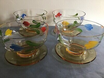 Vintage Hand Painted Sundae Dishes With Amber Coloured Base Saucer • 3£