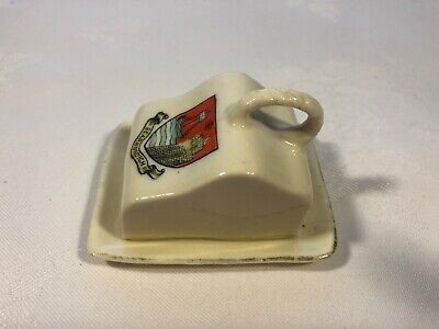 W H Goss Minature Ornate Butter Dish Scarborough. • 2.95£
