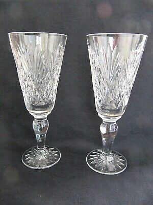 2 Royal Doulton Cut Glass Crystal Champagne Flutes - Juno • 32.50£