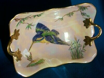 CARLTON WARE DISH KINGFISHER & DRAGONFLY FINE ART DECO C.1920-1926 TWIN HANDLED • 120£