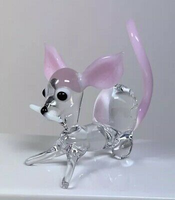 Vintage Art Glass Dog. Clear And Pink Glass. Excellent Condition. • 2.80£