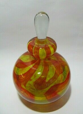 Vintage Mdina Red & Yellow Glass Perfume Scent Bottle  • 24.50£