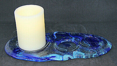 Blue Glass Candle Stand/Holder • 6.43£