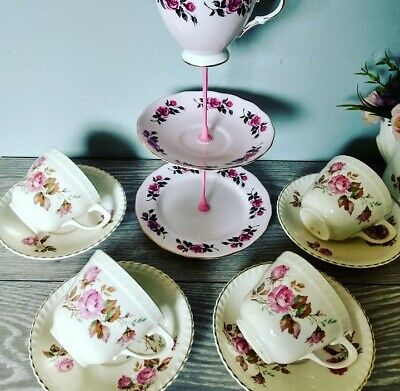 *4 Vintage Mismatched Cream And Pink Cups And Saucers Mini Cake Stand Tea Set* • 16.99£