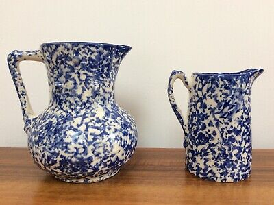 Two Staffordshire England Blue And White Jugs Very Good Condition • 20£