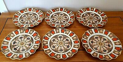 Royal Crown Derby Imari 1128 - *SET OF 6 FLUTED PLATES* - C.1981 - 1st Quality. • 550£