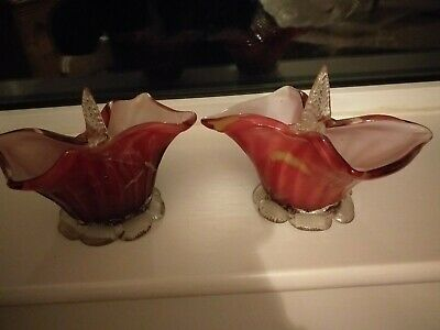 Pair Of  Cranberry Ruby Vintage Free Blown Glass Baskets.   • 22£