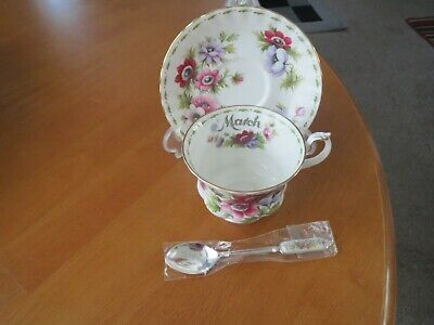 Royal Albert Flower Of The Month March Anemones Tea Cup Saucer/free Spoon Unu • 9.99£