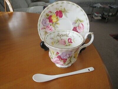 Royal Albert Flower Of The Month April Sweet Pea  Tea Cup Saucer/free Spoon Unu • 9.99£