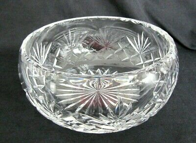 Vintage Lead Crystal Cut Glass Fruit Bowl With Fans • 12.85£