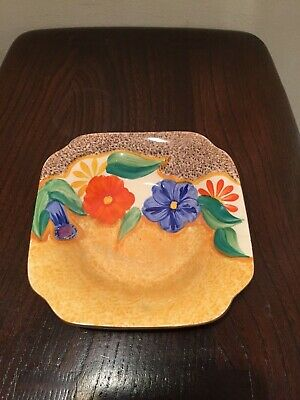 Clarice Cliff Leda Shape Dish In Canterbury Bells Pattern • 59.99£