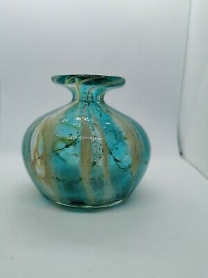 Vintage MCM Small Mdina Glass Round Vase 60s 70s Turquoise Blue • 9£