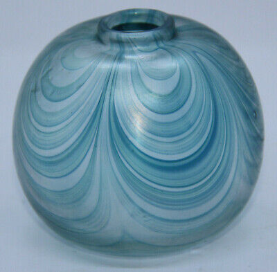 Sanders & Wallace Unsigned Iridescent Blue Glass Bud Vase • 9.99£