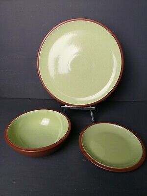 Denby Juice JOBLOT Dinner Plate Bowl & Side Plate Green Terracotta VGC • 9.99£