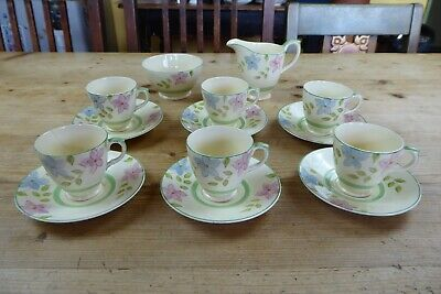 Vintage Newhall Pottery Nirvana Shape Part Coffee Set 14 Pieces Floral • 8£
