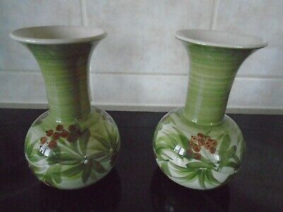Two Jersey Pottery Green Vases  • 5£