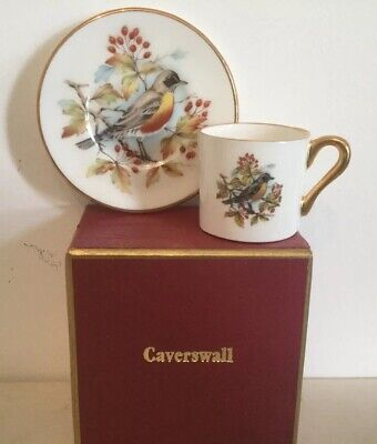 Caverswall Miniature Porcelain Coffee Cup And Saucer- Boxed-Bird Yellow Breast • 8£