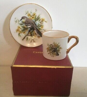 Caverswall Miniature Porcelain Coffee Cup And Saucer- Boxed- Yellow Breast Bird • 8£
