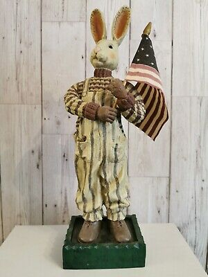 Vintage Paul Gordon American Folk Art Patriotic Hare • 39.99£