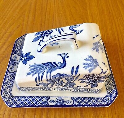 Vintage Wood & Sons Blue & White Cheese Platter • 9.99£