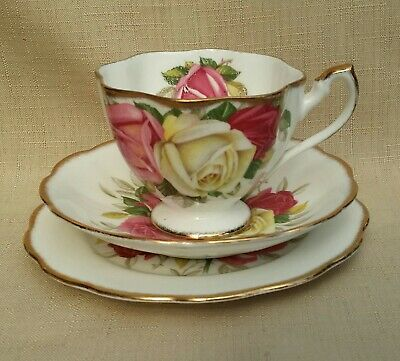 Lovely Vintage Queen Anne Lady Sylvia Trio Roses Pattern • 13£