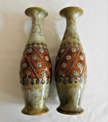 Antique Royal Doulton Pair Of Stoneware Vases C 1890 United Kingdom. • 282.34£