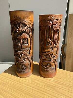 Set Of Two Vintage Hand Carved Bamboo Vases • 60£