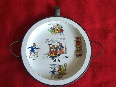 Old Vintage Child's Baby Plate Warmer Nursery Rhymes Design Theme • 19.99£