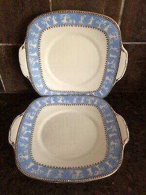 2 X 1920s Crown Staffordshire Eared Cake Bread Plate Blue Border White Figures  • 11£