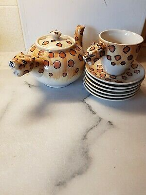 6 X Leopard Tea Cups And Saucers  + 1 Teapot  Excellent Condition No Chips Or... • 25£