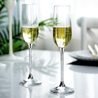 Champagne Flutes Filled With Crystal From Swarovski Gift Box Pair  • 36.99£