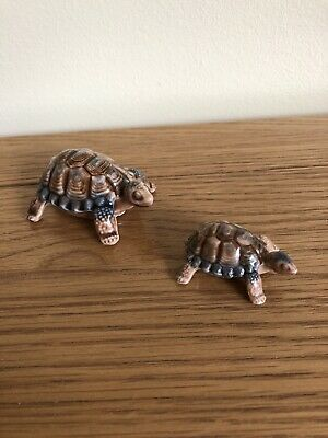 Pair Of Vintage Wade Porcelain Tortoise Whimsies Ornaments - 1 Large & 1 Small • 8£
