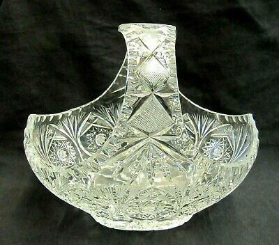Large Heavy Crystal Cut Glass Basket Bowl - 7.75  Tall • 29.50£