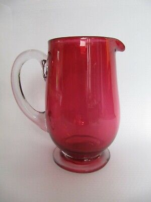 Victorian Cranberry Cream Jug With Clear Handle And Foot • 10.50£